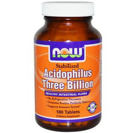 Now Foods, Acidophilus Three Billion, Stabilized, 180 Tablets