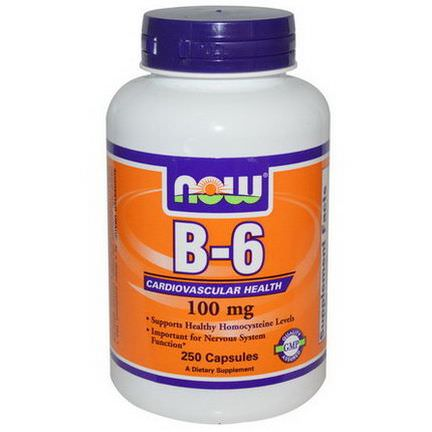 Now Foods, B-6, 100mg, 250 Capsules