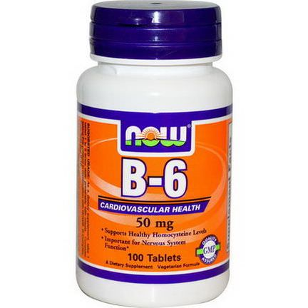 Now Foods, B-6, 50mg, 100 Tablets