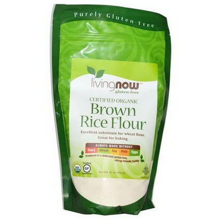 Now Foods, Certified Organic Brown Rice Flour, Gluten-Free 454g