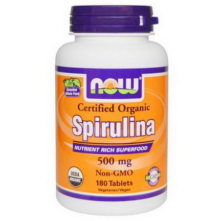 Now Foods, Certified Organic Spirulina, 500mg, 180 Tablets