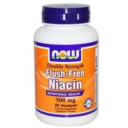 Now Foods, Flush-Free Niacin, Double Strength, 500mg, 90 Vcaps