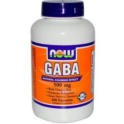 Now Foods, GABA, Natural Calming Effect, 200 Capsules