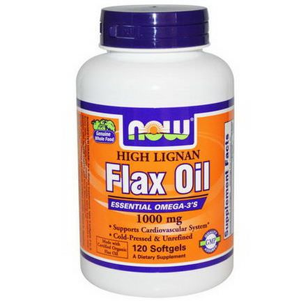 Now Foods, High Lignan Flax Oil, Certified Organic, 1000mg, 120 Softgels