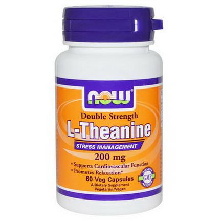 Now Foods, L-Theanine, Double Strength, 200mg, 60 Veggie Capsules