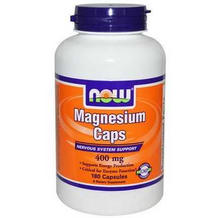 Now Foods, Magnesium Caps, 400mg, 180 Capsules