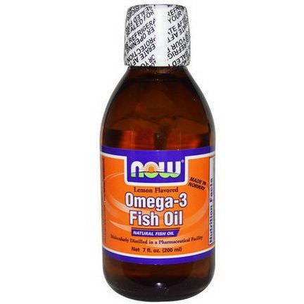 Now Foods, Omega-3 Fish Oil, Lemon Flavored 200ml