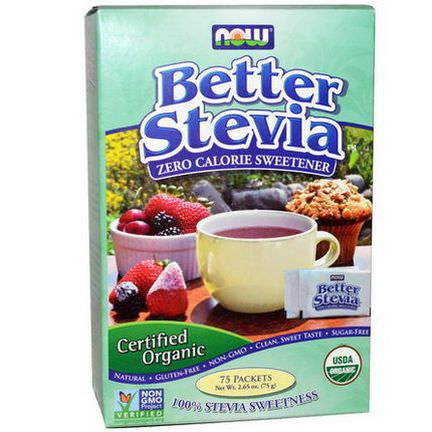 Now Foods, Organic, BetterStevia, Zero Calorie Sweetener, 75 Packets 75g