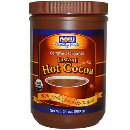 Now Foods, Organic, Instant Hot Cocoa, Low Fat, Rich Milk Chocolate 680g