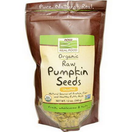 Now Foods, Organic, Raw Pumpkin Seeds, Unsalted 340g