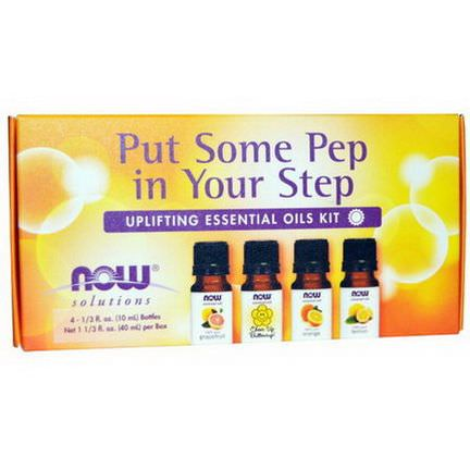 Now Foods, Put Some Pep in Your Step, Uplifting Essential Oils Kit, 4 Bottles 10ml