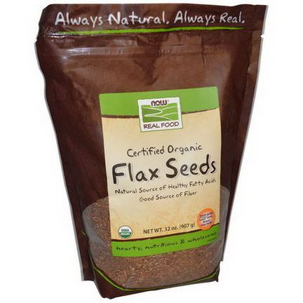 Now Foods, Real Food, Certified Organic Flax Seeds 907g