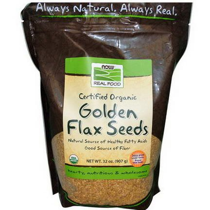Now Foods, Real Food, Certified Organic Golden Flax Seeds 907g