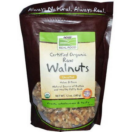 Now Foods, Real Food, Certified Organic Raw Walnuts, Unsalted 340g
