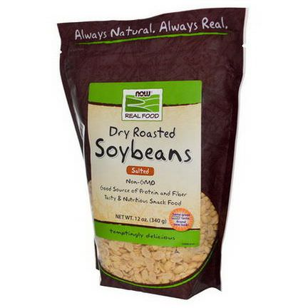 Now Foods, Real Food, Dry Roasted Soybeans, Salted 340g