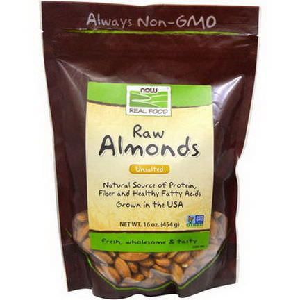 Now Foods, Real Food, Raw Almonds, Unsalted 454g