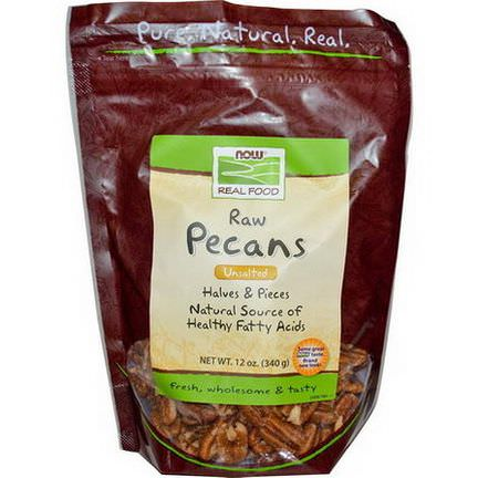 Now Foods, Real Food, Raw Pecans, Halves&Pieces, Unsalted 340g