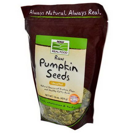 Now Foods, Real Food, Raw Pumpkin Seeds, Unsalted 454g
