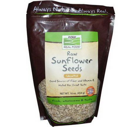 Now Foods, Real Food, Raw Sunflower Seeds, Unsalted 454g