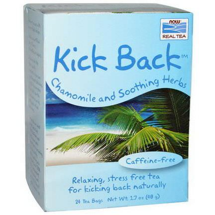 Now Foods, Real Tea, Kick Back, Chamomile and Soothing Herbs, Caffeine-Free, 24 Tea Bags 48g Each