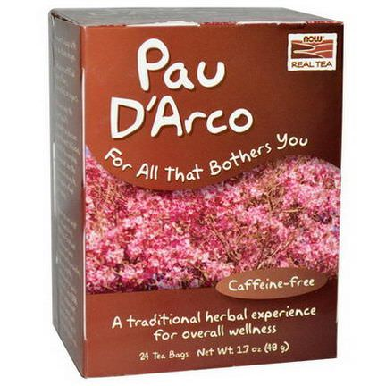 Now Foods, Real Tea, Pau D'Arco, Caffeine-Free, 24 Tea Bags 48g