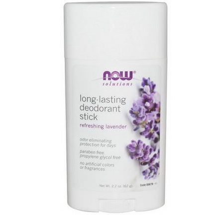 Now Foods, Solutions, Long-Lasting Deodorant Stick, Refreshing Lavender 62g