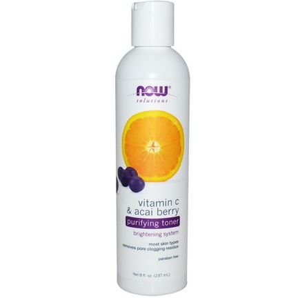 Now Foods, Solutions, Purifying Toner, Vitamin C&Acai Berry 237ml