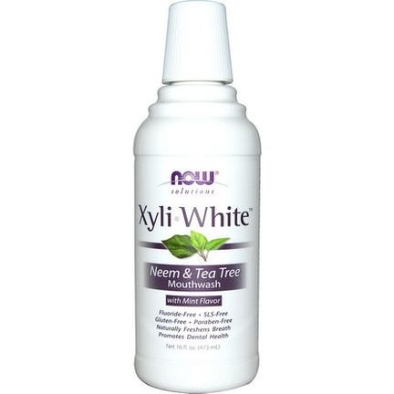 Now Foods, Solutions, Xyli-White, Neem&Tea Tree Mouthwash, with Mint Flavor 473ml