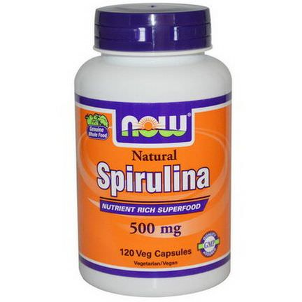 Now Foods, Spirulina, Nutrient Rich Superfood, 500mg, 120 Veggie Caps