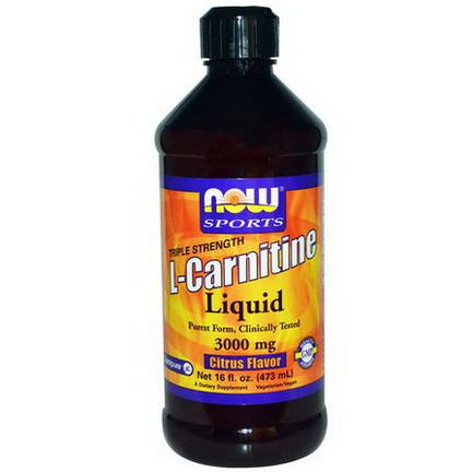Now Foods, Sports, L-Carnitine Liquid, Triple Strength, Citrus Flavor, 3000mg 473ml