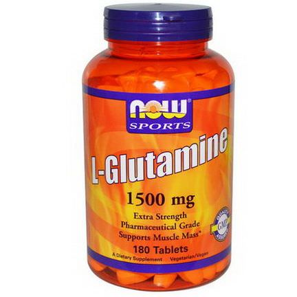 Now Foods, Sports, L-Glutamine, 1,500mcg, 180 Tablets