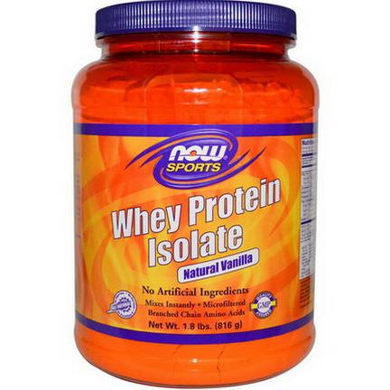 Now Foods, Sports, Whey Protein Isolate, Powder, Natural Vanilla 816g