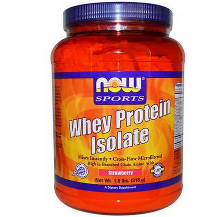 Now Foods, Sports, Whey Protein Isolate, Strawberry 816g