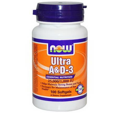Now Foods, Ultra A&D-3, 25,000/1,000 IU, 100 Softgels