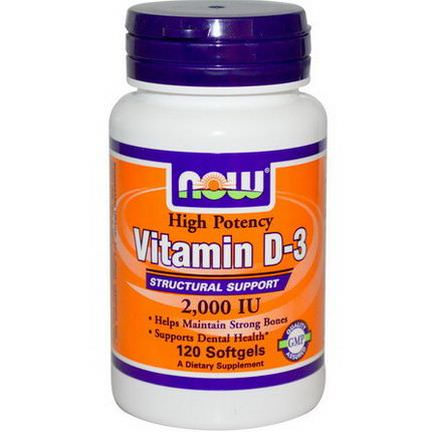 Now Foods, Vitamin D-3, 2000 IU, 120 Softgels