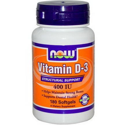 Now Foods, Vitamin D-3, Structural Support, 400 IU, 180 Softgels
