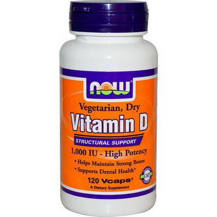 Now Foods, Vitamin D, High Potency, 1,000 IU, 120 Vcaps