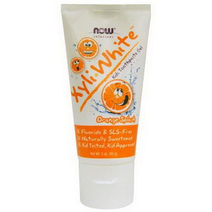 Now Foods, Xyli White, Kid's Toothpaste Gel, Orange Splash 85g
