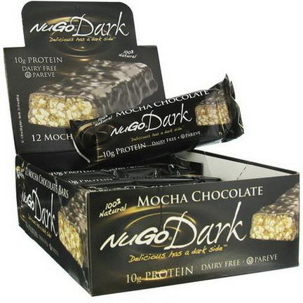 NuGo Nutrition, Dark, Mocha Chocolate Bars, 12 Bars 50g Each