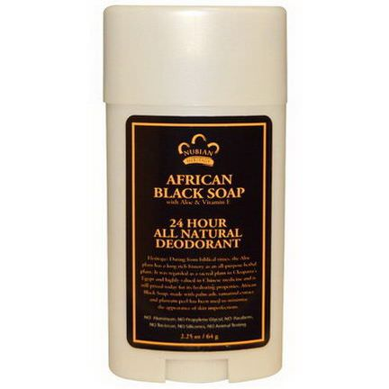 Nubian Heritage, 24 Hour All Natural Deodorant, African Black Soap with Aloe&Vitamin E 64g