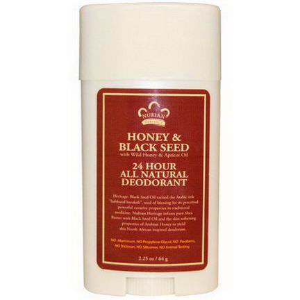 Nubian Heritage, 24 Hour All Natural Deodorant, Honey&Black Seed with Wild Honey&Apricot Oil 64g