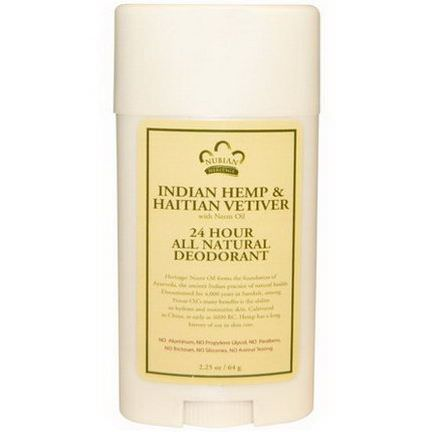 Nubian Heritage, 24 Hour All Natural Deodorant, Indian Hemp&Haitian Vetiver with Neem Oil 64g