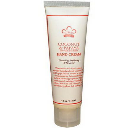 Nubian Heritage, Hand Cream, Coconut&Papaya 118ml