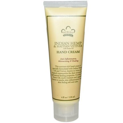 Nubian Heritage, Hand Cream, Indian Hemp&Haitian Vetiver 118ml