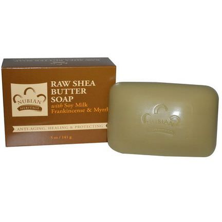 Nubian Heritage, Raw Shea Butter Soap, With Soy Milk, Frankincense&Myrrh 141g
