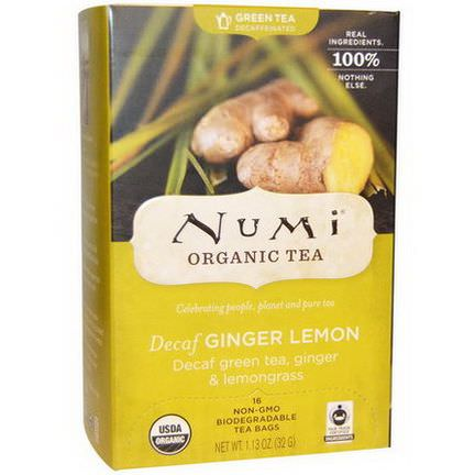 Numi Tea, Organic, Decaffeinated Tea, Ginger Lemon, 16 Tea Bags 32g