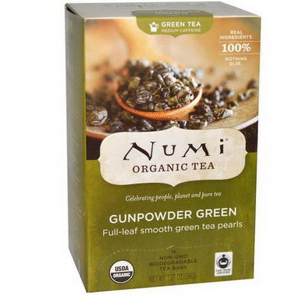 Numi Tea, Organic Green Tea, Medium Caffeine, Gunpowder Green, 18 Tea Bags 36g