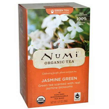 Numi Tea, Organic Green Tea, Medium Caffeine, Jasmine Green, 18 Tea Bags 36g