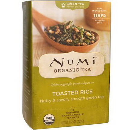 Numi Tea, Organic Green Tea, Toasted Rice, 18 Tea Bags 46.8g Each