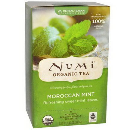 Numi Tea, Organic Herbal Teasan, Caffeine Free, Moroccan Mint, 18 Tea Bags 39.6g